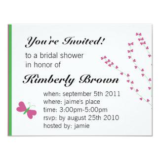 Butterfly heart bridal shower invitation