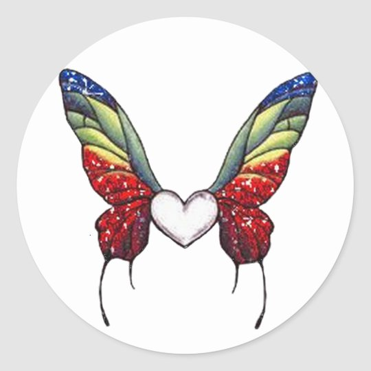 Butterfly Heart Classic Round Sticker