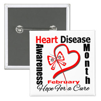 Butterfly Heart - Heart Disease Awareness Month 2 Inch Square Button