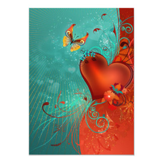 Butterfly Heart 5x7 Paper Invitation Card