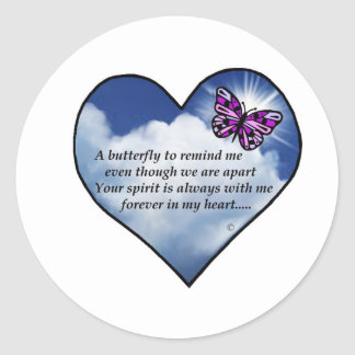 Butterfly Heart Poem Classic Round Sticker