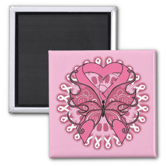 Butterfly Heart Ribbon - Breast Cancer 2 Inch Square Magnet