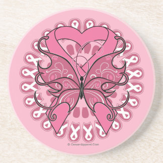 Butterfly Heart Ribbon - Breast Cancer Beverage Coasters