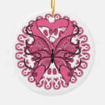 Butterfly Heart Ribbon - Breast Cancer Double-Sided Ceramic Round Christmas Ornament