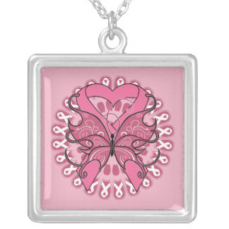Butterfly Heart Ribbon - Breast Cancer Square Pendant Necklace