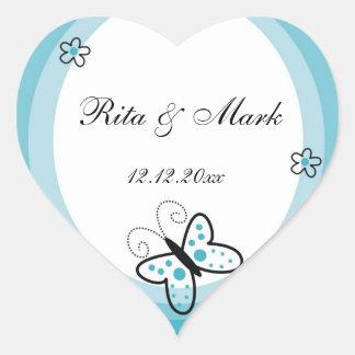 Butterfly Heart Wedding Favor Sticker::Blue Heart Sticker