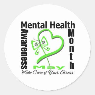 Butterfly Heartt - Mental Health Awareness Month Classic Round Sticker