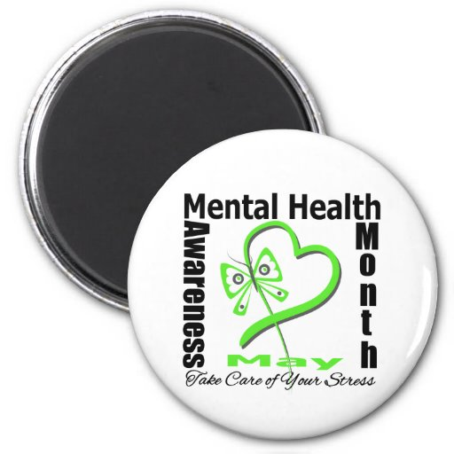 Butterfly Heartt - Mental Health Awareness Month 2 Inch Round Magnet