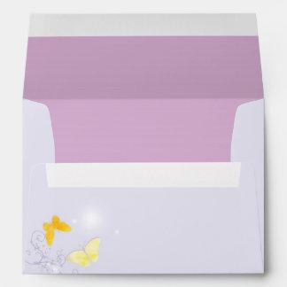 Butterfly Heaven Lavender Wedding Invitation A7 Envelope