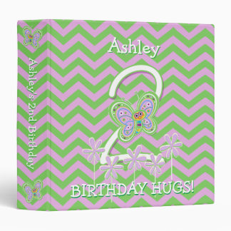 Butterfly Hugs 2nd Birthday Custom 1.5 inch 3 Ring Binders