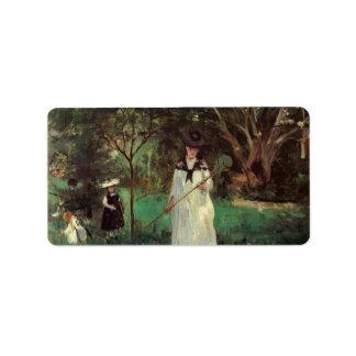 Butterfly hunting by Berthe Morisot Custom Address Label