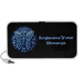 Butterfly icon with embrace your dreams text portable speakers