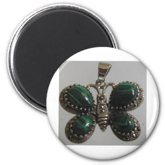 butterfly image green 2 inch round magnet