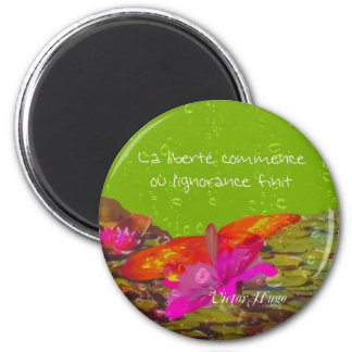 Butterfly in a pond.PNG 2 Inch Round Magnet