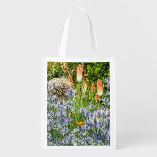 Butterfly In A Summer Garden Grocery Bags