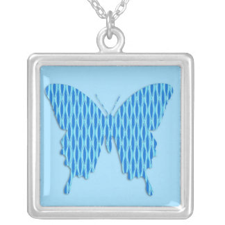 Butterfly in abstract print - shades of blue square pendant necklace