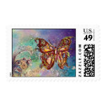 BUTTERFLY IN BLUE GOLD SPARKLES POSTAGE
