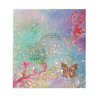 BUTTERFLY IN BLUE GREEN SPARKLES NOTEPAD