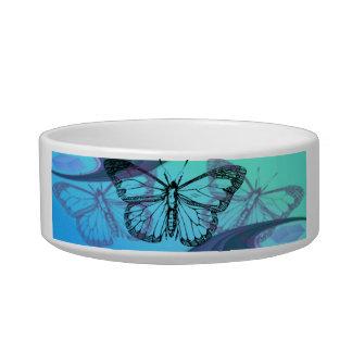 Butterfly in Blues Cat Water Bowl