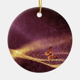 Butterfly In Dust Particles Ceramic Ornament