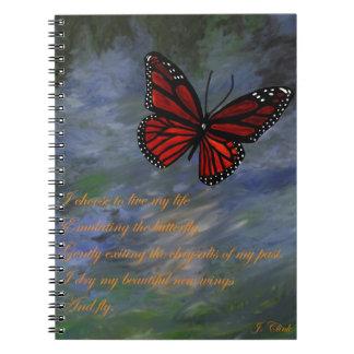 Butterfly in flight spiral notebook