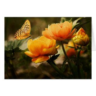 Butterfly in Flight to Flowers Card Card