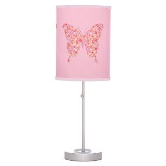 Butterfly in flower pattern - pink, orange table lamp