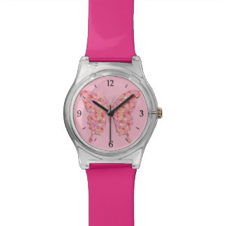 Butterfly in flower pattern - pink, orange watches