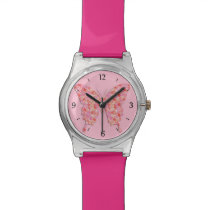 Butterfly in flower pattern - pink, orange wrist watch