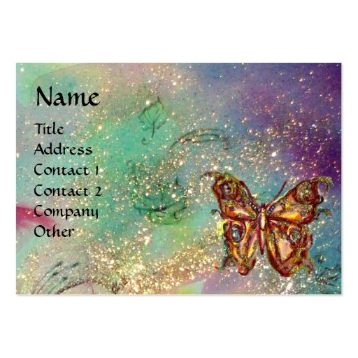 BUTTERFLY IN GOLD AND BLUE GREEN SPARKLES,teal Business Card