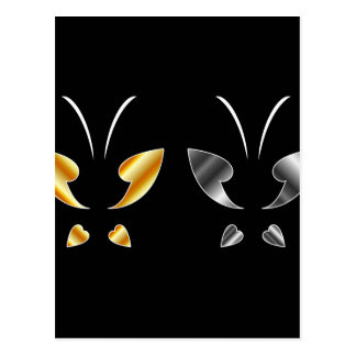 Butterfly in gold and silver colors postcard