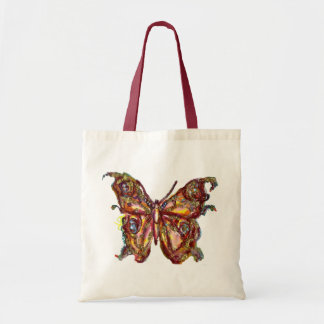 BUTTERFLY IN GOLD SPARKLES CANVAS BAGS