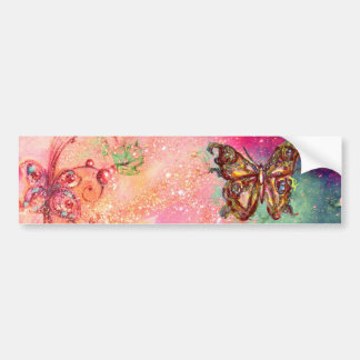 BUTTERFLY IN GOLD SPARKLES BUMPER STICKER