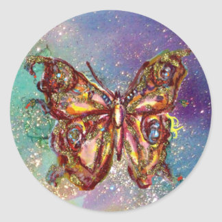 BUTTERFLY IN GOLD SPARKLES CLASSIC ROUND STICKER