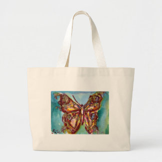 BUTTERFLY IN GOLD SPARKLES LARGE TOTE BAG