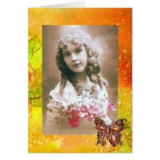 BUTTERFLY IN  GOLD SPARKLES  Photo Template Card