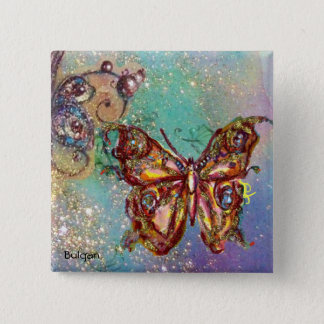 BUTTERFLY IN GOLD SPARKLES PINBACK BUTTON
