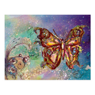 BUTTERFLY IN GOLD SPARKLES POSTCARD