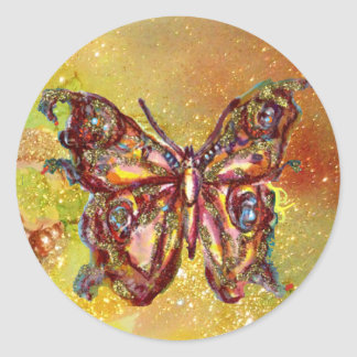 BUTTERFLY IN GOLD SPARKLES STICKER