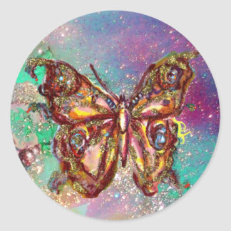 BUTTERFLY IN GOLD SPARKLES ROUND STICKERS
