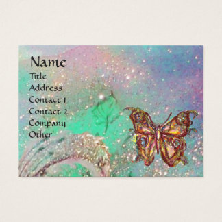 BUTTERFLY IN GOLD TEAL GREEN SPARKLES BUSINESS CARD