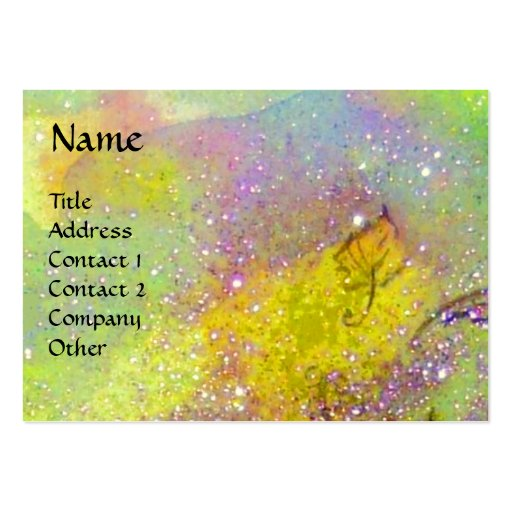 BUTTERFLY IN GOLD YELLOW PURPLE GREEN SPARKLES BUSINESS CARD TEMPLATES