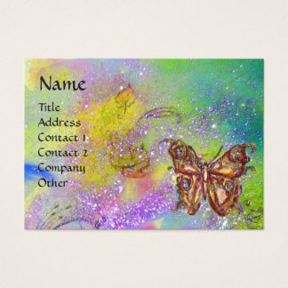 BUTTERFLY IN GOLD YELLOW PURPLE GREEN SPARKLES BUSINESS CARD