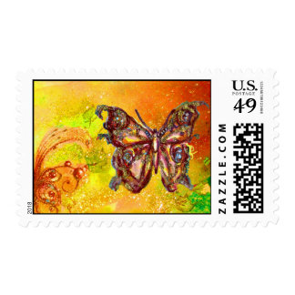 BUTTERFLY IN GOLD YELLOW SPARKLES POSTAGE
