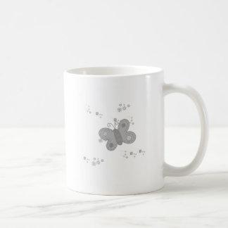 Butterfly in grey coffee mug