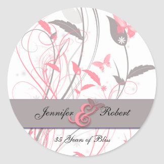 Butterfly in Honeysuckle Pink and Grey Classic Round Sticker
