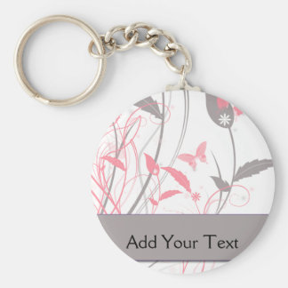 Butterfly in Honeysuckle Pink Basic Round Button Keychain