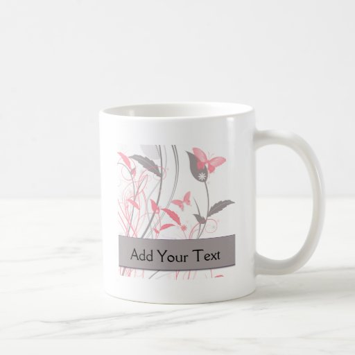 Butterfly in Honeysuckle Pink Mugs