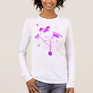 Butterfly in Pink and Purple Long Sleeve T-shirt
