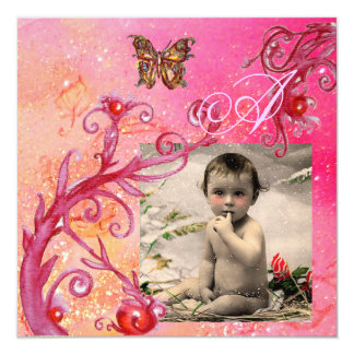 BUTTERFLY IN PINK, BABY GIRL SHOWER Photo Template Card